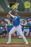 Marco Hernandez (13) of the Ogden Raptors at bat against the Orem Owlz at Lindquist Field on July 27, 2019 in Ogden, Utah. The Raptors defeated the Owlz 14-1. (Stephen Smith/Four Seam Images)