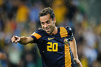 Alex BROSQUE (20) of Australia celebrates his goal during the FIFA 2014 World Cup Group D Asian Qualifier match between Australia and Saudi Arabia at AAMI Park in Melbourne, Australia...This image is not for sale on this web site. Please contact Southcreek Global Media for licensing:.Toll Free: 1.800.934.5030.Canada: 701 Rossland Rd. East, Suite 315, Whitby, Ontario, Canada, L1N 9K3.USA: 10792 Baron Dr, Parma OH, USA 44130.Web: http://southcreekglobal.net/ and http://southcreekglobal.com/