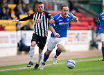 St Johnstone v Dunfermline....25.02.12   SPL.Lee Croft is pulled back by Joe Cardle.Picture by Graeme Hart..Copyright Perthshire Picture Agency.Tel: 01738 623350  Mobile: 07990 594431