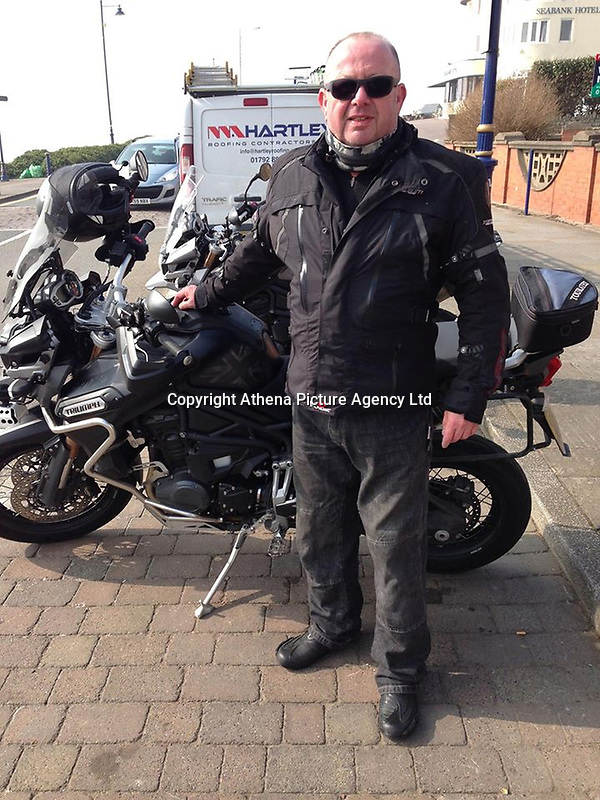 Pictured: Langdon Wayne Doidge.<br /> Re: Langdon Wayne Doidge, 59,a motorcycle enthusiast died after mistakenly drinking a cleaning product he thought was a soft drink after a night out in Cardiff, south Wales.<br /> An inquest held at Pontypridd Coroner's Court, heard how Mr Doidge kept a diluted alkaline solution – called Beer Line cleaner – in his fridge in order to clean parts of his motorcycle.<br /> But after a night out it's believed he returned to his home in Cardiff Bay, where he lived alone, and accidentally mistook the product for a bottle of Ribena.
