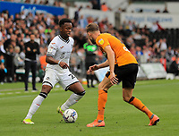 11th September 2021; Swansea.com Stadium, Swansea, Wales; EFL Championship football, Swansea versus Hull City; Ethan Laird of Swansea City looks to take on Callum Elder of Hull City