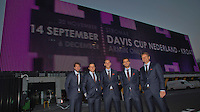 September 10, 2014,Netherlands, Amsterdam, Ziggo Dome, Davis Cup Netherlands-Croatia, Dutch team in front of the Zigo Dome, l.t.r:   Robin Haase, Igor Sijsling. Thiemo de Bakker , Jean-Julien Rojer, and captain Jan Siemerink <br /> Photo: Tennisimages/Henk Koster