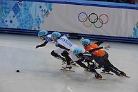 OLYMPICS: SOCHI: Iceberg Skating Palace, 15-02-2014, Short Track, Men's 1000m, Finals, Victor An (#250   RUS), Vladimir Grigorev (#252   RUS), Sjinkie Knegt (#248   NED), Da Woon Sin (#243   KOR), ©photo Martin de Jong