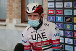 Last year's winner Alexander Kristoff (NOR) UAE Team Emirates at sign on before the start of the 82nd edition of Gent-Wevelgem 2020 running 232km from Ypres to Wevelgem, Belgium. 11th October 2020.  <br /> Picture: Colin Flockton   Cyclefile<br /> <br /> All photos usage must carry mandatory copyright credit (© Cyclefile   Colin Flockton)