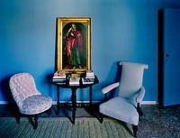Simplicity in blue. A reading corner in the bedroom of Lars Rachen's Venetian apartment