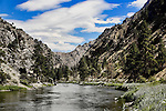 Salmon River above Corn Creek, put in for rafting the famous River of No Return.  The Salmon is a National Wild and Scenic River which, here, flows through the Salmon River Canyon famous for scenery rivaling the Grand Canyon, rafting, kayaking, fishing, camping, rock climbing, and wildlife.