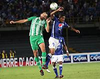 BOGOTÁ - COLOMBIA, 09-03-2019:Cesar Carrillo (Der.) jugador de Millonarios disputa el balón con Hernan Barcos (Izq.) jugador del Atlético Nacional  durante partido por la fecha 9 de la Liga Águila I 2019 jugado en el estadio Nemesio Camacho El Campín de la ciudad de Bogotá. /Cesar Carrillo (R) player of Millonarios  fights for the ball with Hernan Barcos (L) player of Atletico Nacional  during the match for the date 9 of the Liga Aguila I 2019 played at the Nemesio Camacho El Campin Stadium in Bogota city. Photo: VizzorImage / Felipe Caicedo / Staff.
