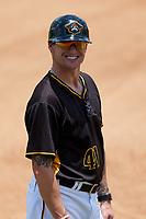 Bradenton Marauders coach Adam Godwin (41) during a game against the Charlotte Stone Crabs on June 3, 2018 at LECOM Park in Bradenton, Florida.  Charlotte defeated Bradenton 10-1.  (Mike Janes/Four Seam Images)