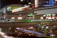 Trains and roads cross in Tachikawa on the fringes of Tokyo, the biggest and most populated city in the world with 35 million people.<br /> <br /> Richard Jones  /  Sinopix