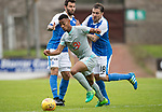 St Johnstone v Hartlepool…22.07.17… McDiarmid Park… Pre-Season Friendly<br />Junior Mondal gets by Paul Paton and Richie Foster<br />Picture by Graeme Hart.<br />Copyright Perthshire Picture Agency<br />Tel: 01738 623350  Mobile: 07990 594431