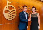 Professor Louise Richardson, Principal and Vice-Chancellor, University of St Andrews (R) and Tenniel Chu, Vice Chairman, Mission Hills Group (L) attend signature of the Mission Hills-St Andrews Scholarship Fund Agreement at Mission Hills offices on November 21, 2014 in Hong Kong, China. Photo by Xaume Olleros / Power Sport Images