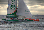 Groupama at the start Route du Rhum La Banque Postale 2010..The Route du Rhum is a transatlantic single-handed yacht race, which takes places every 4 years in November. The course is between Saint Malo, Brittany, France and Pointe-à-Pitre, Guadeloupe.