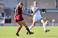 Texas A&M defender Leigh Edwards (13) attempts to block a pass during NCAA soccer game, Sunday, October 26, 2014 in College Station, Tex. South Carolina draw 2-2 against Texas A&M in double overtime. (Mo Khursheed/TFV Media via AP Images)
