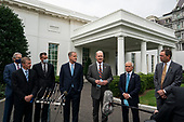 Left to right: Delta CEO Ed Bastian, United CEO Scott Kirby, Hawaiian President and CEO Peter Ingram, American Airlines chairman and CEO Doug Parker, Southwest Airlines Chairman and CEO Gary Kelly, Airlines For America President and CEO Nicholas Calio, and Alaska President and CEO Brad Tilden, speak with reporters outside the White House on September 17th, 2020 in Washington, D.C. The executives just finished a meeting with White House Chief of Staff Mark Meadows during which they discussed an extension of COVID-19 relief benefits to the major airlines. Credit: Alex Edelman / Pool via CNP