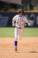 Chris Clare (9) of the High Point Panthers rounds the bases after hitting a home run against the LIU-Brooklyn Blackbirds at Willard Stadium on March 8, 2015 in High Point, North Carolina.  The Panthers defeated the Blackbirds 9-0.  (Brian Westerholt/Four Seam Images)