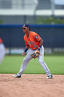 GCL Astros second baseman Rolando Espinosa (10) during a Gulf Coast League game against the GCL Nationals on August 9, 2019 at FITTEAM Ballpark of the Palm Beaches training complex in Palm Beach, Florida.  GCL Nationals defeated the GCL Astros 8-2.  (Mike Janes/Four Seam Images)