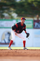 Batavia Muckdogs shortstop Micah Brown (55) during a game against the West Virginia Black Bears on June 26, 2017 at Dwyer Stadium in Batavia, New York.  Batavia defeated West Virginia 1-0 in ten innings.  (Mike Janes/Four Seam Images)