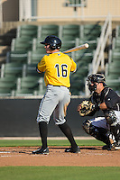 Jordan Luplow (16) of the West Virginia Power at bat against the Kannapolis Intimidators at CMC-Northeast Stadium on April 21, 2015 in Kannapolis, North Carolina.  The Power defeated the Intimidators 5-3 in game one of a double-header.  (Brian Westerholt/Four Seam Images)
