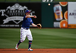 Brock Holt makes a play during a spring training game between the Texas Rangers and Los Angeles Dodgers in Surprise, Ariz., on Sunday, March 7, 2021.<br /> Photo by Cathleen Allison