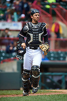 Erie Seawolves catcher Austin Green (3) during a game against the Richmond Flying Squirrels on May 20, 2015 at Jerry Uht Park in Erie, Pennsylvania.  Erie defeated Richmond 5-2.  (Mike Janes/Four Seam Images)