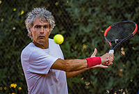 Hilversum, The Netherlands,  August 21, 2020,  Tulip Tennis Center, NKS, National Senior Tennis Championships, Men's single 55+,  Bart Theelen 	<br /> Gejo Bogie<br /> Photo: Tennisimages/Henk Koster