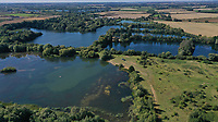 BNPS.co.uk (01202) 558833<br /> Pic: Longstaff/BNPS<br /> <br /> Pictured: An aerial view of the lakes around the property.<br /> <br /> Water, water everywhere..<br /> <br /> A countryside home that is completely surrounded by water meadow has gone on the market and is ideal for those looking to get away from it all. <br /> <br /> The aptly-named Water's Edge is a 1960s-built house that sits on a plot of land in the middle of over 100 acres of tranquil lakes. <br /> <br /> The remote £2.5m property is reached by a thin driveway that connects it to the main road.