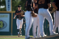 Modesto Nuts relief pitcher Jack Anderson (27) jogs to the mound during a California League game against the San Jose Giants at John Thurman Field on May 9, 2018 in Modesto, California. San Jose defeated Modesto 9-5. (Zachary Lucy/Four Seam Images)
