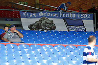An Hertha Berlin BSC flag on display during the pre season friendly match between Crystal Palace and Hertha BSC at Selhurst Park, London, England on 3 August 2019. Photo by Carlton Myrie / PRiME Media Images.