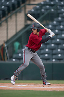 AZL Diamondbacks left fielder Alek Thomas (5) at bat during the completion of a suspended Arizona League game against the AZL Angels at Tempe Diablo Stadium on July 16, 2018 in Tempe, Arizona. The game was a continuation of the July 11, 2018 contest that was suspended by rain in the middle of the eighth inning. The AZL Diamondbacks defeated the AZL Angels 12-8. (Zachary Lucy/Four Seam Images)