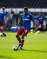 12th September 2020; Pride Park, Derby, East Midlands; English Championship Football, Derby County versus Reading; Andy Rinomhota of Reading with the ball at his feet during the warm up before the match