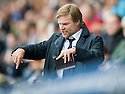 FALKIRK MANAGER STEVEN PRESSLEY SHOUTS HIS INSTRUCTIONS FROM HIS SEAT IN THE STAND