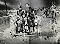 On A Tricycle Built For Two, Riverside Drive, Ny 1886, 1886, Artist Unknown,