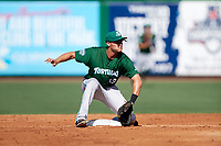 Daytona Tortugas second baseman Brantley Bell (13) waits to receive a throw during the first game of a doubleheader against the Clearwater Threshers on July 25, 2017 at Spectrum Field in Clearwater, Florida.  Daytona defeated Clearwater 4-1.  (Mike Janes/Four Seam Images)
