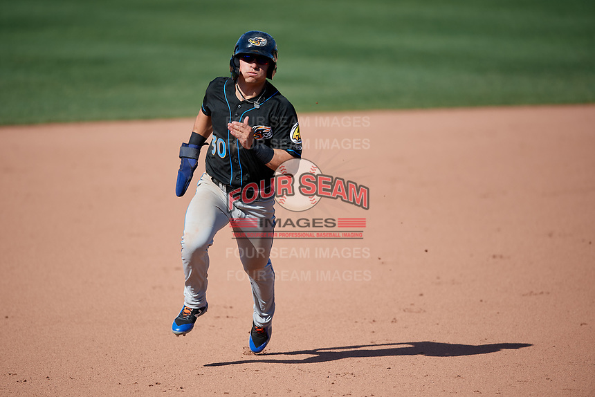 Akron RubberDucks Mitch Longo (30) running the bases during an Eastern League game against the Erie SeaWolves on June 2, 2019 at UPMC Park in Erie, Pennsylvania.  Erie defeated Akron 8-5 in eleven innings of the second game of a doubleheader.  (Mike Janes/Four Seam Images)