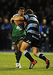 Connacht's Mils Muliaina is tackled by Cardiff Blues' Sam Hobbs<br /> Guiness Pro12<br /> Cardiff Blue v Connacht<br /> BT Sport Cardiff Arms Park<br /> 06.03.15<br /> ©Ian Cook -SPORTINGWALES