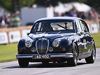 9th July 2021;  Goodwood  House, Chichester, England; Goodwood Festival of Speed; Day Two; Grant Williams drives a Jaguar Mk2 in the Goodwood Hill Climb