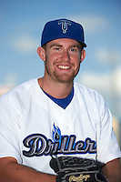 Tulsa Drillers pitcher Jacob Rhame (28) poses for a photo before a game against the Midland RockHounds on June 2, 2015 at Oneok Field in Tulsa, Oklahoma.  Midland defeated Tulsa 6-5.  (Mike Janes/Four Seam Images)