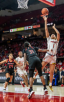 COLLEGE PARK, MD - FEBRUARY 9: Shakira Austin #1 of Maryland shoots over Tekia Mack #31 of Rutgers during a game between Rutgers and Maryland at Xfinity Center on February 9, 2020 in College Park, Maryland.