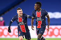 24th December 2020; Paris, France; French League 1 football, Paris St Germain versus Strasbourg;  Gaol celebrations from IDRISSA GUEYE PSG and MARCO VERRATTI PSG