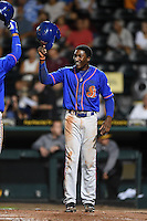 St. Lucie Mets Champ Stuart (7) congratulates Michael Conforto (left) after hitting a home run during a game against the Bradenton Marauders on April 11, 2015 at McKechnie Field in Bradenton, Florida.  St. Lucie defeated Bradenton 3-2.  (Mike Janes/Four Seam Images)
