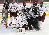 Josh Wilkins (PC - 15), JD Dudek (BC - 15), Michael Kim (BC - 4), Brandon Duhaime (PC - 9), Joe Woll (BC - 31), Bob Bernard, Bryan Lemos (PC - 24), Casey Fitzgerald (BC - 5), Colin White (BC - 18) - The Boston College Eagles defeated the visiting Providence College Friars 3-1 on Friday, October 28, 2016, at Kelley Rink in Conte Forum in Chestnut Hill, Massachusetts.The Boston College Eagles defeated the visiting Providence College Friars 3-1 on Friday, October 28, 2016, at Kelley Rink in Conte Forum in Chestnut Hill, Massachusetts.