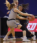 March 13, 2021— Shaylee DeBeer #5 of Dakota State (S.D.) tries to steal from Emilee Maldonado #3 of Providence (Mont.) during NAIA Women's Opening Championship Rounds at Sokol Arena in Omaha, Nebraska (Photo by Richard Carlson/inertia)