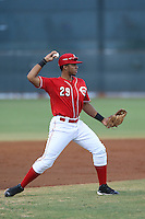 Leandro Santana (29) of the AZL Reds makes a throw during a game against the AZL Brewers at Cincinnati Reds Spring Training Complex on July 5, 2015 in Goodyear, Arizona. Reds defeated the Brewers, 9-4. (Larry Goren/Four Seam Images)