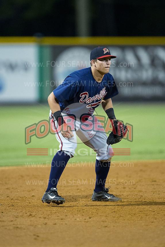 Danville Braves third baseman Austin Riley (13) on defense against the Burlington Royals at Burlington Athletic Park on August 13, 2015 in Burlington, North Carolina.  The Braves defeated the Royals 6-3. (Brian Westerholt/Four Seam Images)