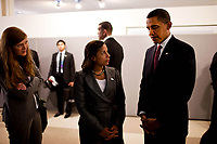 President Barack Obama, U.S. Ambassador to the United Nations Susan Rice and Senior Director for Multilateral Affairs Samantha Power, attend a wreath laying ceremony at the Memorial for United Nations staff killed in Iraq at the U.N. Headquarters in New York City, Sept. 23, 2009. (Official White House photo by Pete Souza) <br /> <br /> This official White House photograph is being made available only for publication by news organizations and/or for personal use printing by the subject(s) of the photograph. The photograph may not be manipulated in any way and may not be used in commercial or political materials, advertisements, emails, products, promotions that in any way suggests approval or endorsement of the President, the First Family, or the White House.