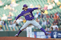 LSU Tigers starting pitcher Landon Marceaux (11) in action against the Baylor Bears in game five of the 2020 Shriners Hospitals for Children College Classic at Minute Maid Park on February 28, 2020 in Houston, Texas. The Bears defeated the Tigers 6-4. (Brian Westerholt/Four Seam Images)