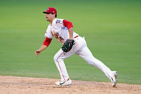 Second baseman Nick Yorke (4) of the Greenville Drive in a game against the Asheville Tourists on Tuesday, August 31, 2021, at Fluor Field at the West End in Greenville, South Carolina. (Tom Priddy/Four Seam Images)