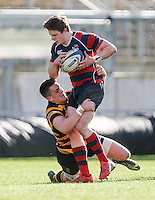Monday 27th February 2017   ULSTER SCHOOLS CUP SEMI-FINAL<br /> <br /> Angus Kernohan is tackled by James Hume during the Ulster Schools Cup Semi-Final between RBAI and Ballymena Academy  at Kingspan Stadium, Ravenhill Park, Belfast, Northern Ireland. <br /> <br /> Photograph by John Dickson   www.dicksondigital.com