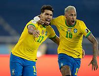 2nd July 2021; Nilton Santos Stadium, Rio de Janeiro, Brazil; Copa America, Brazil versus Chile; Lucas Paquetá of Brazil celebrates his goal with Neymar in the 46th minute 1-0