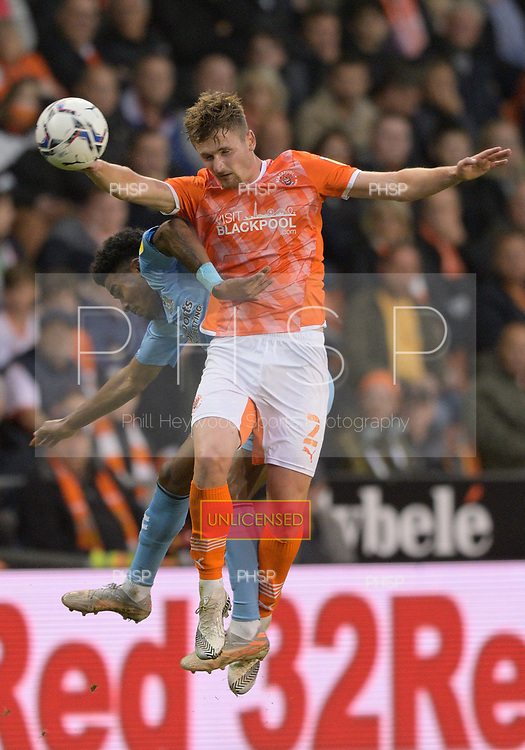 17/08/2021 Sky Bet Championship Blackpool v Coventry  <br /> <br /> Callum Connolly duels with Ian Maatsen